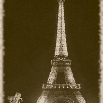 Eiffel Tower at Night In Sepia by jherbert101