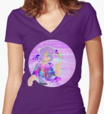 Glitchy! Women's Fitted V-Neck T-Shirt