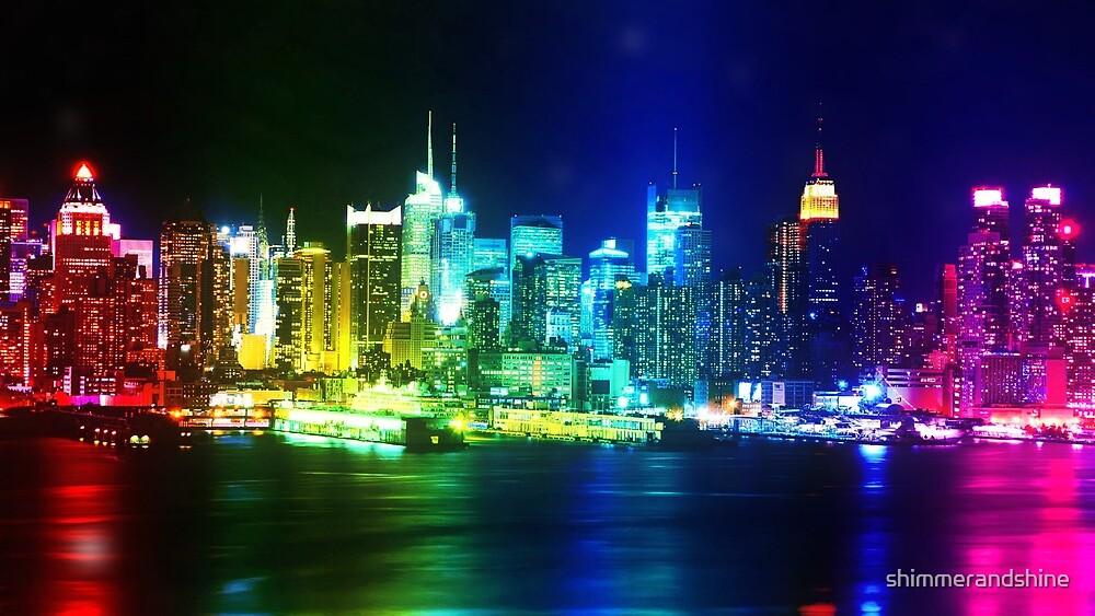 Neon Rainbow New York Skyline by shimmerandshine