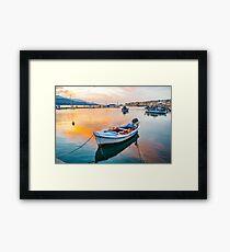 Fishing boat at sunset. Samos Island Greece Framed Print