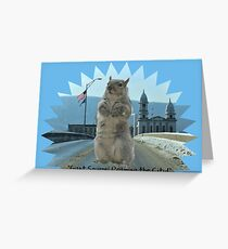 Squirrel Giant Roams City Greeting Card