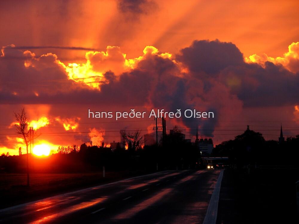 Sun through the smog by hans p olsen