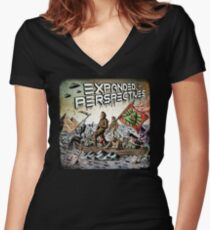 Expanded Perspectives Podcast aliens bigfoot conspiracies big foot sasquatch pyramids ancient america history cryptid crypto monster illuminati egypt Women's Fitted V-Neck T-Shirt