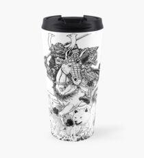Samurai with Akitas Travel Mug