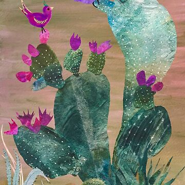 Birdies sitting on a cactus by yvonne-crayon