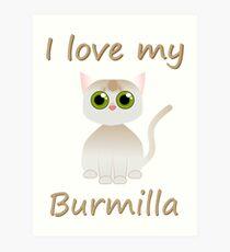 I love my Burmilla cat - design by Matilda Lorentsson Art Print