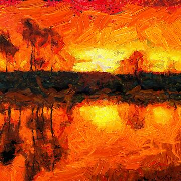 Red sunset on the coast Van Gogh Monet Cézanne by Ariela-Alez