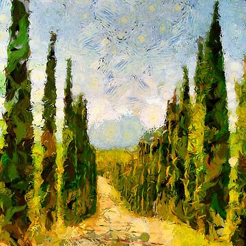 Rural path with cypresses by Ariela-Alez