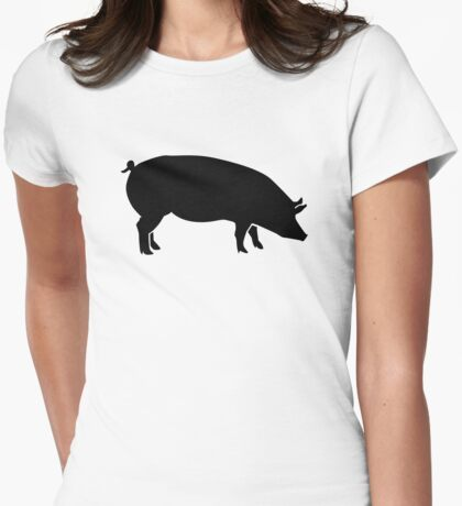 Black pig Womens Fitted T-Shirt