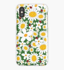 White Daisies and Red Ladybugs iPhone Case
