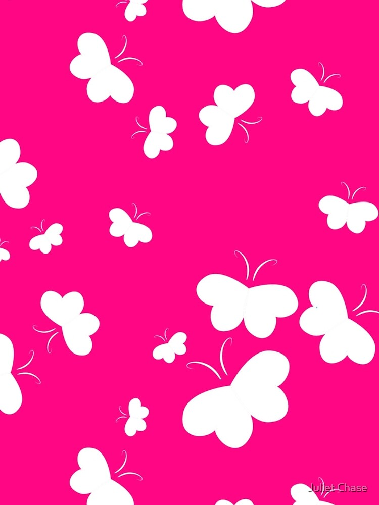 Hearts Aflutter White on Pink Background by julietchase