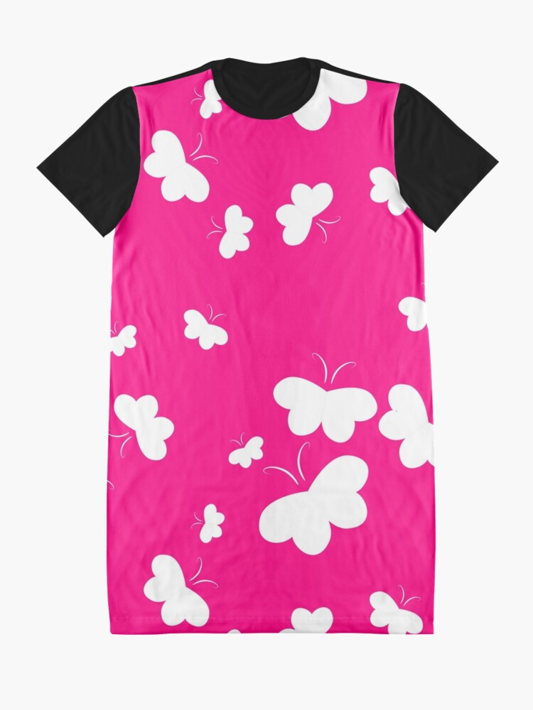Alternate view of Hearts Aflutter White on Pink Background Graphic T-Shirt Dress