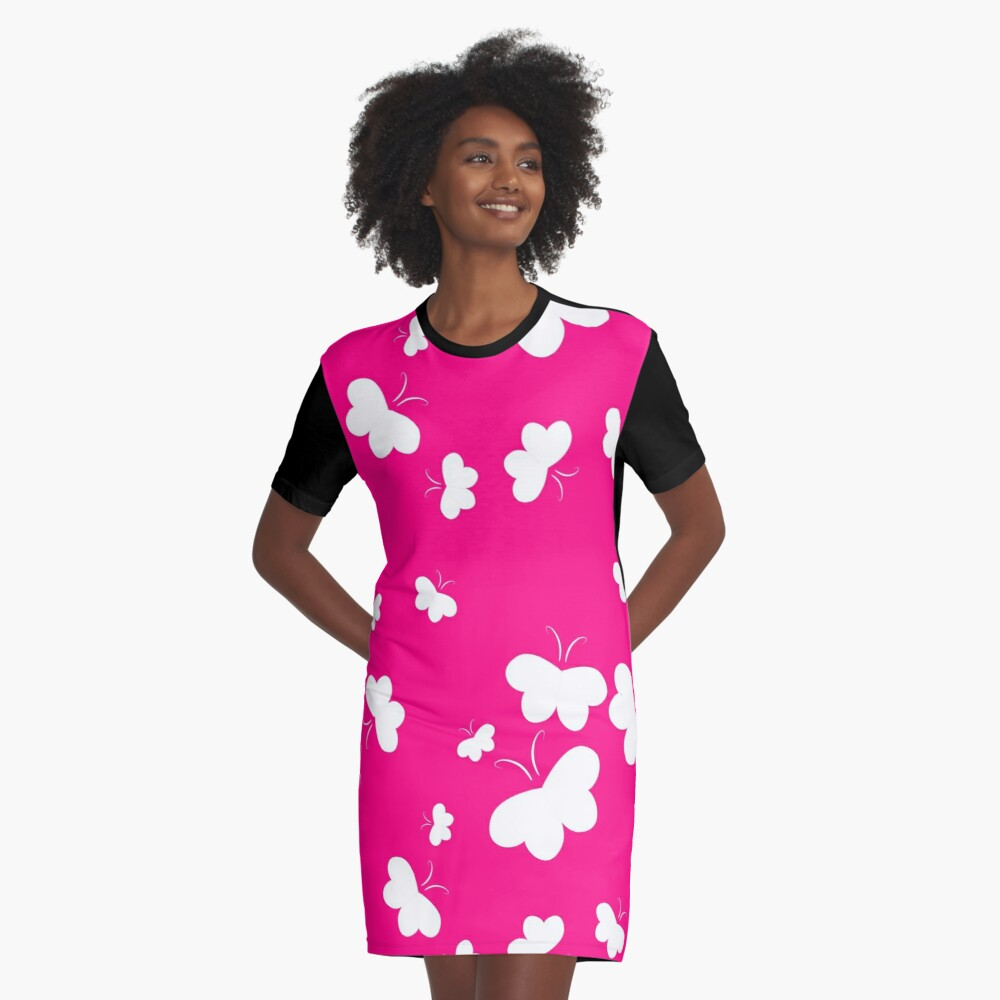Hearts Aflutter White on Pink Background Graphic T-Shirt Dress