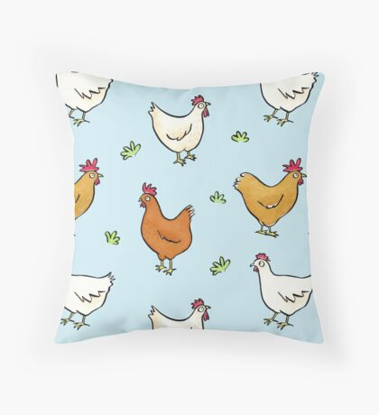 Organized Chickens Throw Pillow