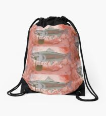 Salmon Art! Smoked Salmon... With a Pipe!  Drawstring Bag
