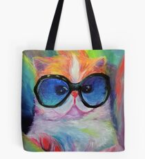 Fabulous Kitty Acrylic Painting Tote Bag
