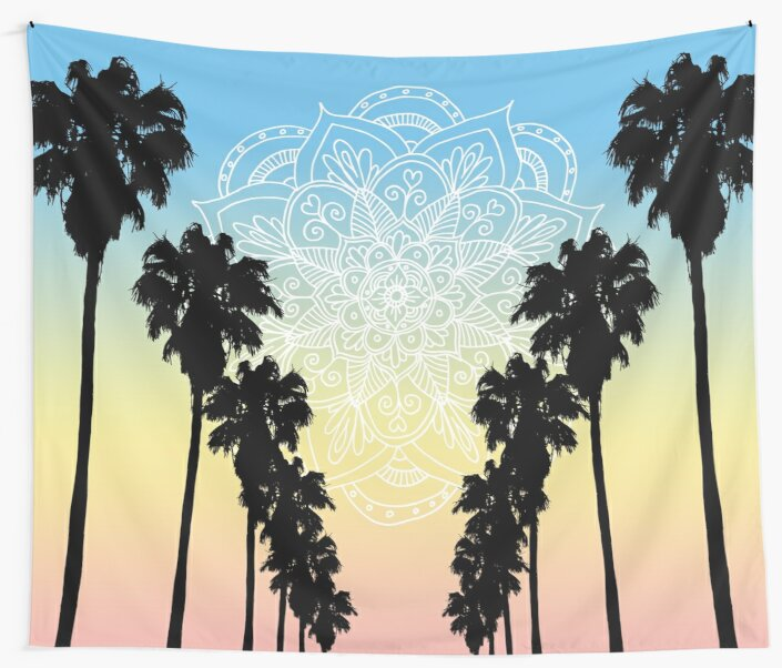 California Dreams Sunset Mandala with Palm Trees by julieerindesign
