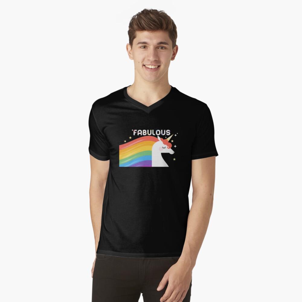 Fabulous Sparkling Rainbow Unicorn V-Neck T-Shirt