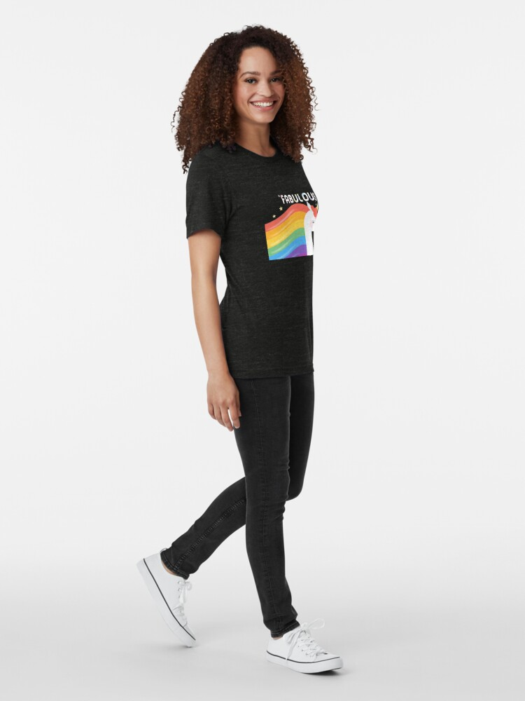 Alternate view of Fabulous Sparkling Rainbow Unicorn Tri-blend T-Shirt