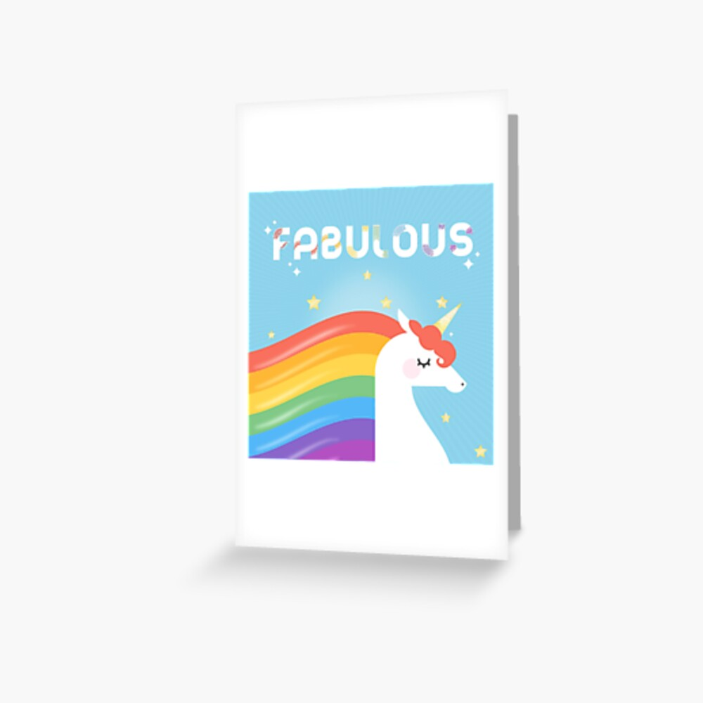 Fabulous Sparkling Rainbow Unicorn Greeting Card