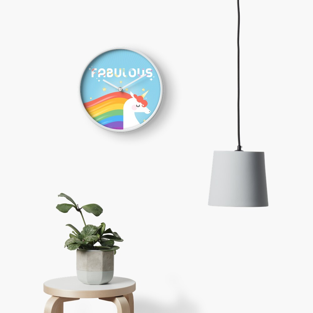 Fabulous Sparkling Rainbow Unicorn Clock