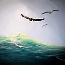 Seagulls Soaring Above the Ocean Waves by Melissa J Barrett