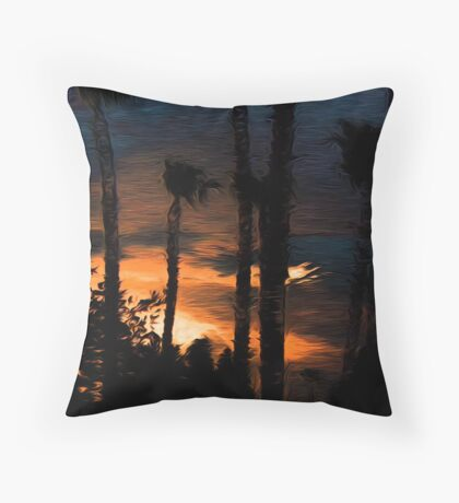 God's Artist Creative  Sky Just For Palm Spring Throw Pillow
