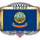 Idaho Art Deco Design with Flag by Cleave