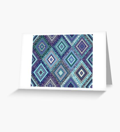 Kilim Diamonds - Blue, elegant pattern by Cecca Designs Greeting Card