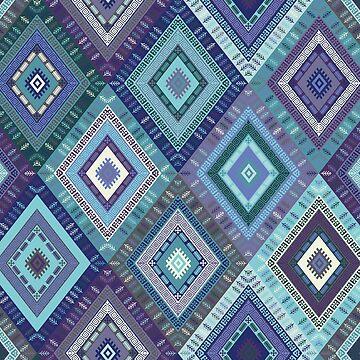 Kilim Diamonds - Blue, elegant pattern by Cecca Designs by Cecca-Designs