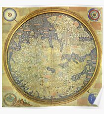 The Fra Mauro Map of the world. The map depicts Asia, Africa and Europe. Poster