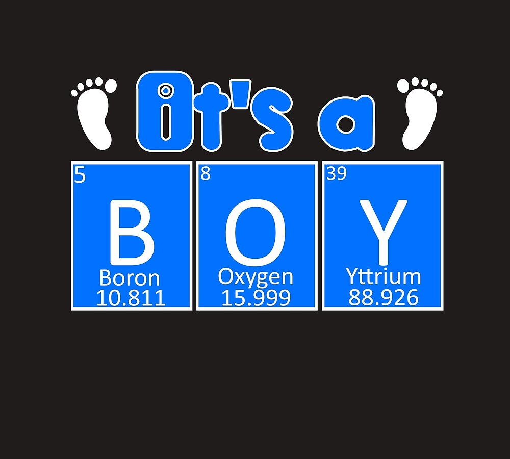 Gender Reveal Baby Announcement Its A Boy Periodic Table Chemistry