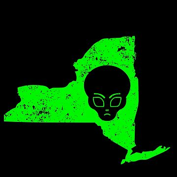 UFO Conspiracy Design Green Alien New York Design Alien by drwigglebutts
