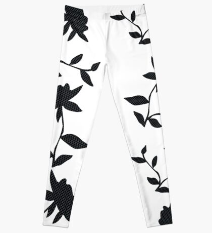 Black and White Honeycomb Flowers and Butterflies Leggings