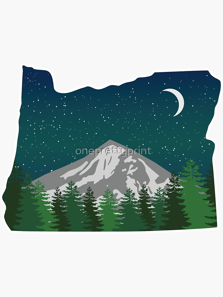 Oregon Mountain on a Starry Night by oneprettyprint