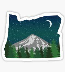 Oregon Mountain on a Starry Night Glossy Sticker