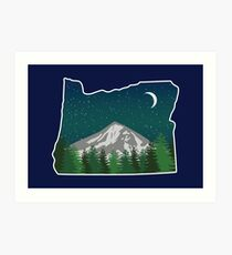 Oregon Mountain on a Starry Night Art Print