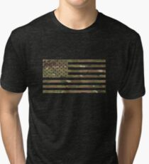 U.S. Flag: Military Camouflage Tri-blend T-Shirt