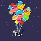 Flying Space Cat With Balloons  by pinklioness