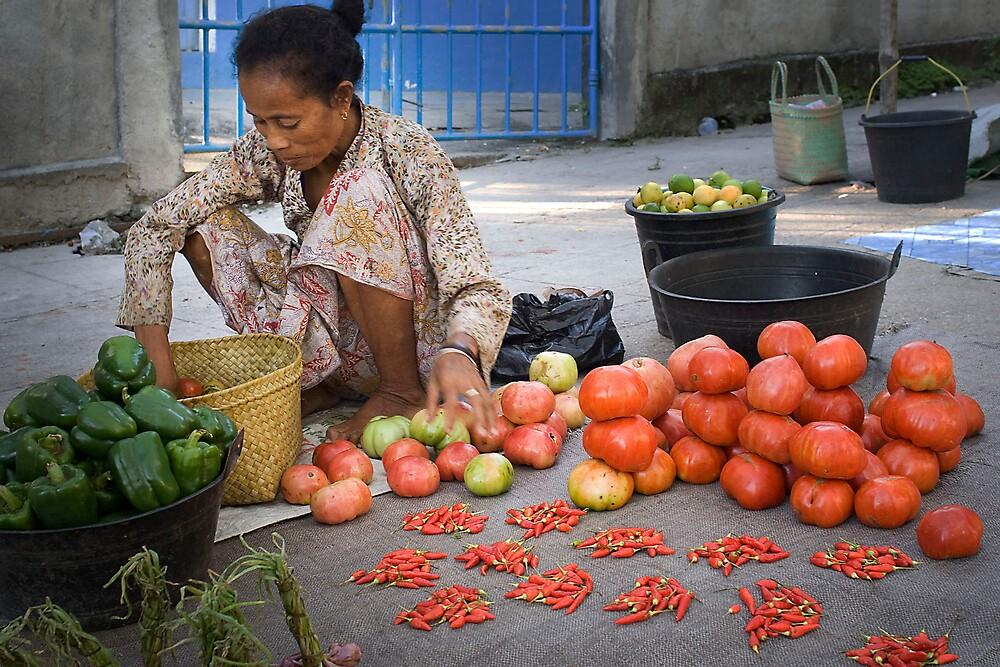 "Food vendor at ""new"" market, Baucau, East Timor by John Tozer"