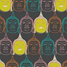 Oriental Buddha's Smile Zen Colorful Pop Art by fatfatin