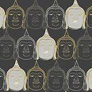 Oriental Buddha's Smile Zen Gold Silver And Grey Pop Art by fatfatin