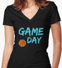 Game Day Basketball Light Blue Women's Fitted V-Neck T-Shirt