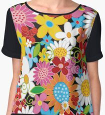 Whimsical Spring Flowers Power Garden Chiffon Top