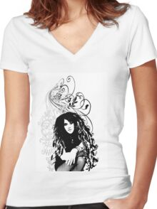 girl Women's Fitted V-Neck T-Shirt