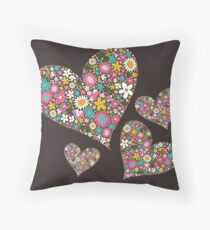 Whimsical Spring Flowers Pink Valentine Hearts Quartet Throw Pillow
