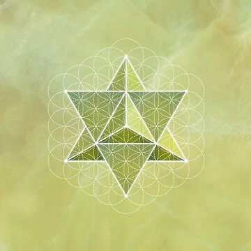 Merkaba & Flower of Life on prehnite by RedCloudDesign