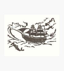 Ship at Storm Block Print Art Print