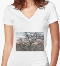 Evening, sunset, evening glow, setting sun rays, windows, pink clouds Fitted V-Neck T-Shirt