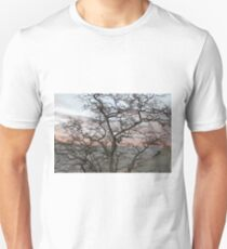 Sunset, pink clouds, exotic curved branches of a tree, beautiful view Unisex T-Shirt